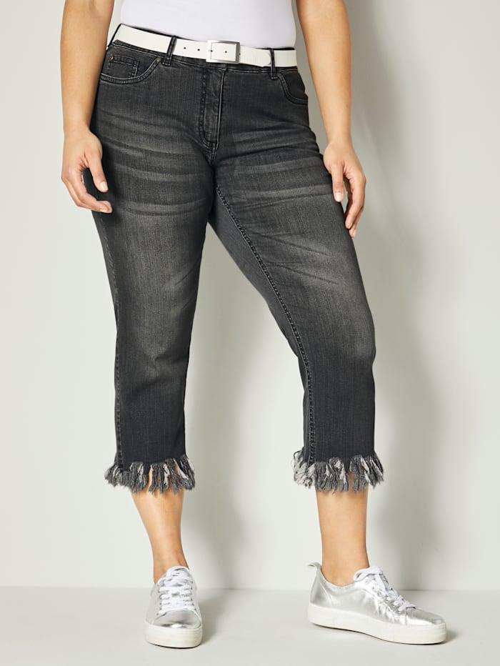 Angel of Style 7/8-jeans met open randen, Antraciet