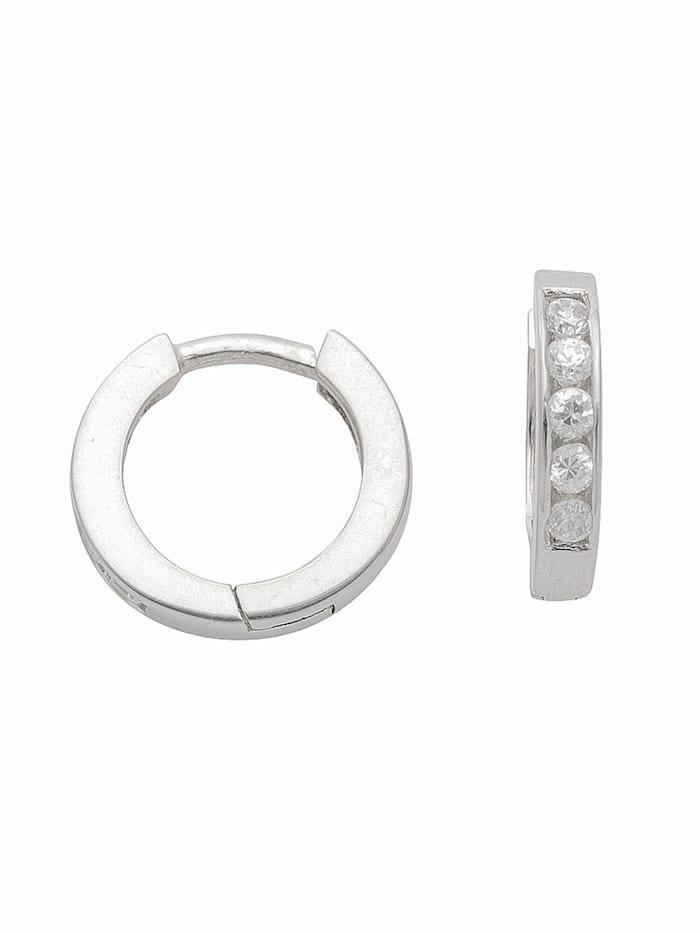 1001 Diamonds 1001 Diamonds Damen Silberschmuck 925 Silber Ohrringe / Creolen mit Zirkonia Ø 11,8 mm, silber