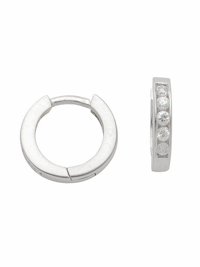 1001 Diamonds Damen Silberschmuck 925 Silber Ohrringe / Creolen mit Zirkonia Ø 11,8 mm, silber