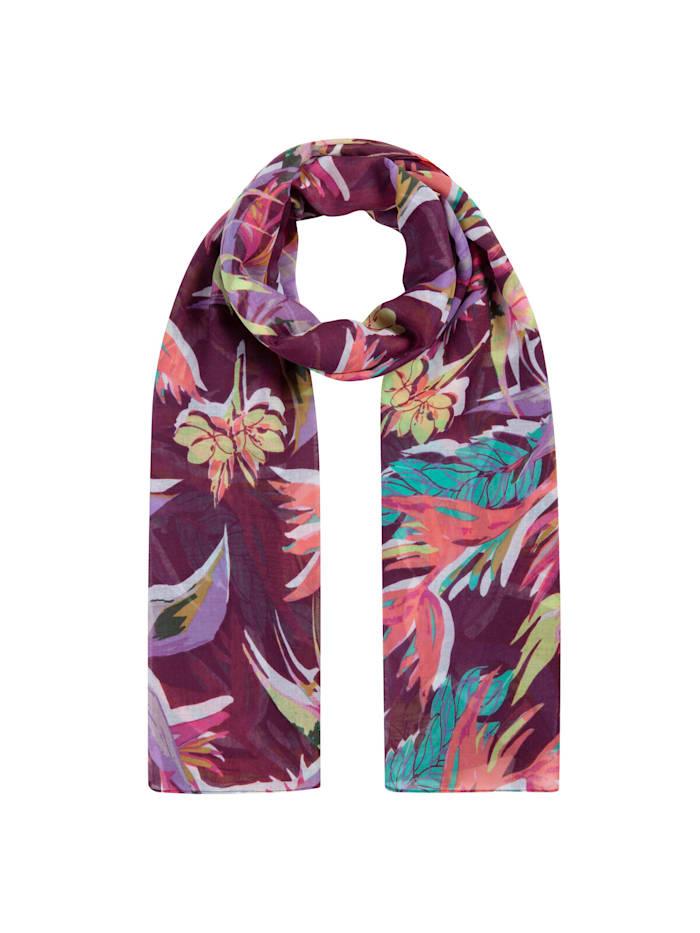 Codello Supersofter Blumen-Schal aus recyceltem Polyester, dark violet