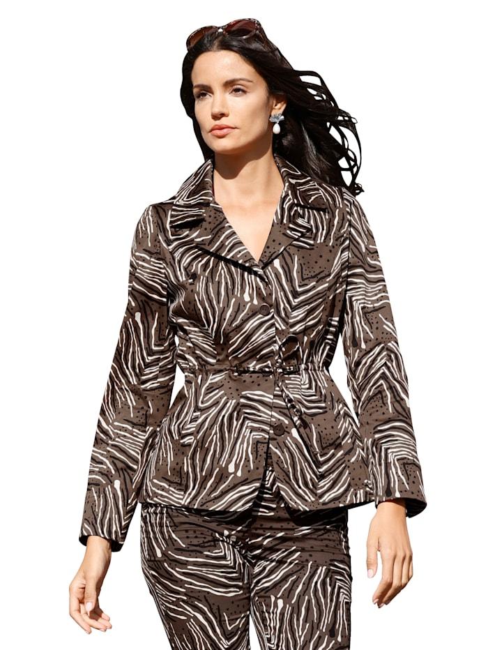AMY VERMONT Blazer met grafisch patroon rondom, Bruin/Zwart/Crème