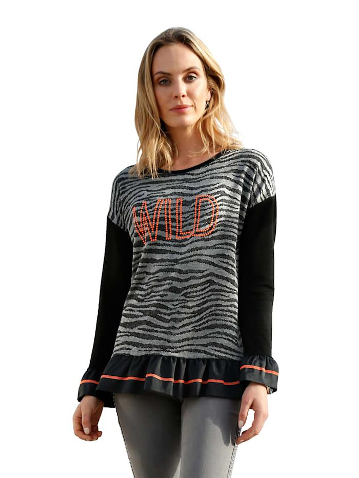 AMY VERMONT Sweatshirt mit Plättchendekoration im Vorderteil, Schwarz/Grau/Orange