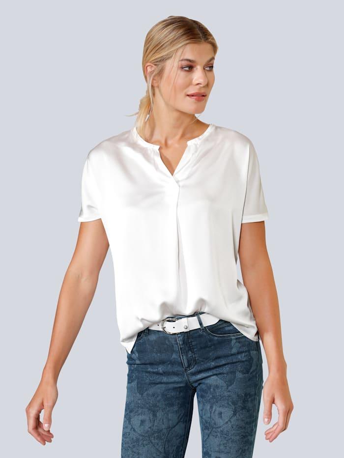 BRAX Blusenshirt mit kurzen Ärmeln, Creme-Weiß