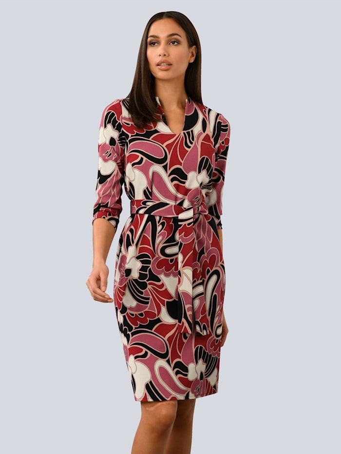 Alba Moda Kleid aus fester Jerseyware, Schwarz/Rot/Weiß