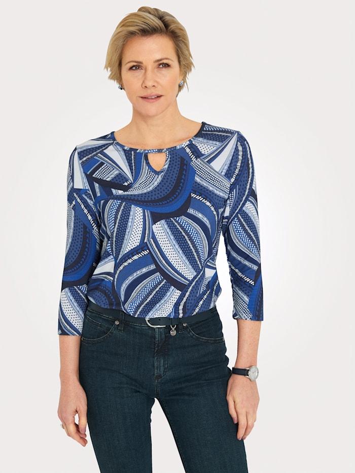 MONA Shirt mit raffiniertem Halsausschnitt, Marineblau/Blau