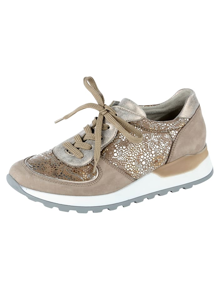 Waldläufer Lace-up shoes with an orthotic heel, Taupe