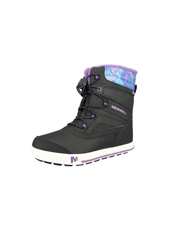Merrell boots Kids Kinderstiefel Snow Bank 2.0 Waterproof Black Print Berry Schwarz MC56089, Black Print Berry