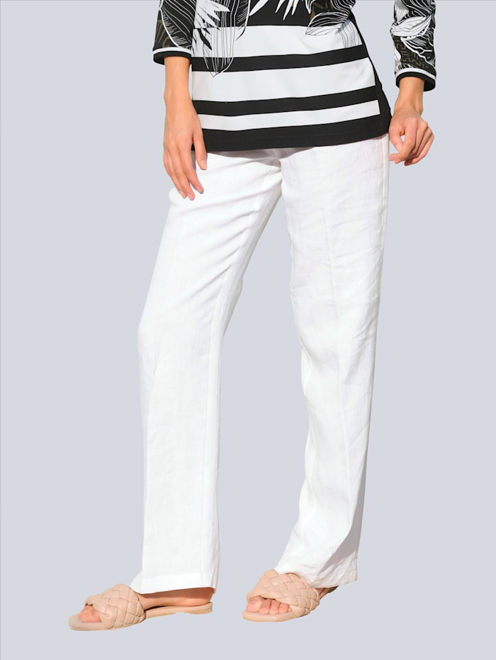 Alba Moda Strandhose aus Leinen, Weiß