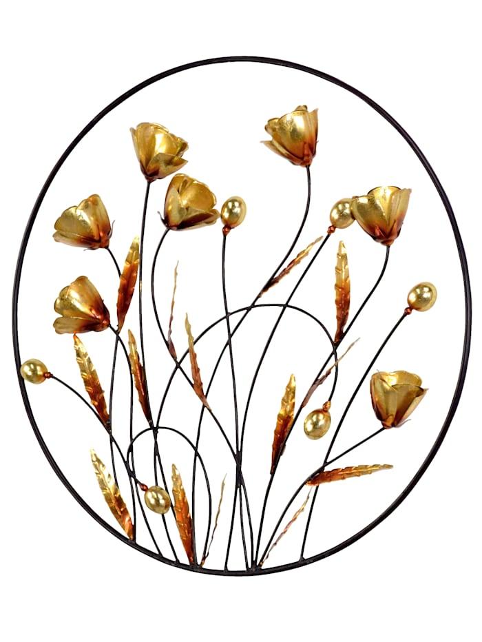 Wanddekoration Blumen, Gold