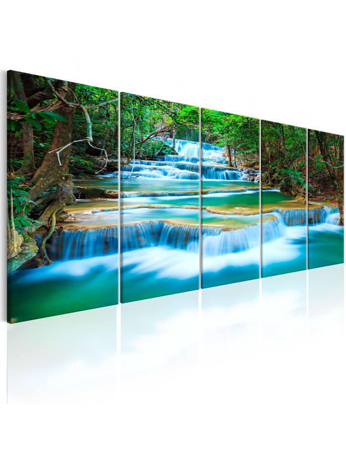 artgeist Wandbild Sapphire Waterfalls I, Blau,Braun,Grün,Weiß
