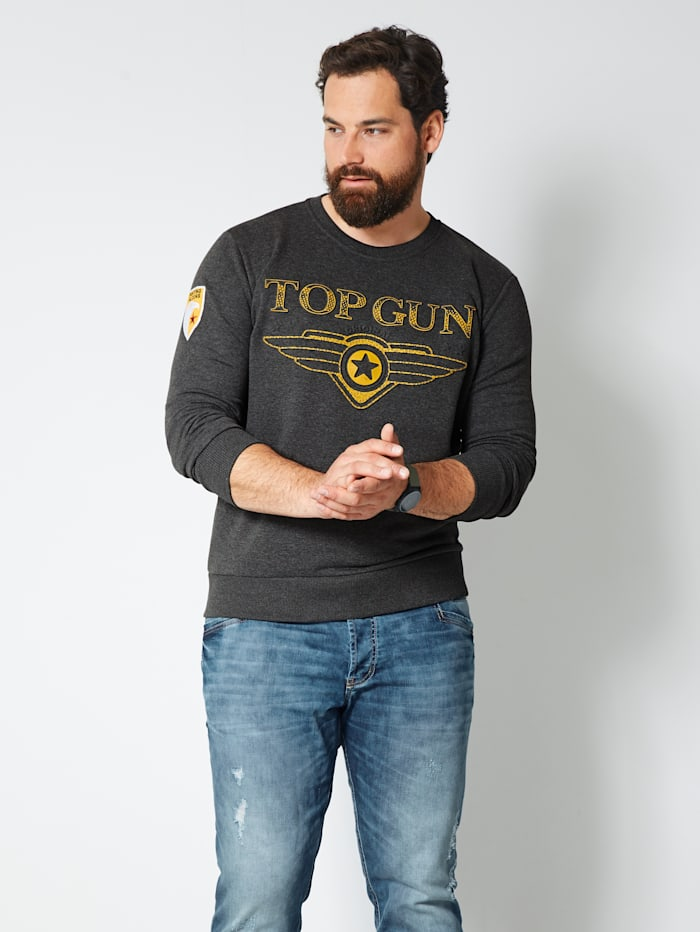 Top Gun Sweatshirt mit Logo-Prägung, Dunkelgrün