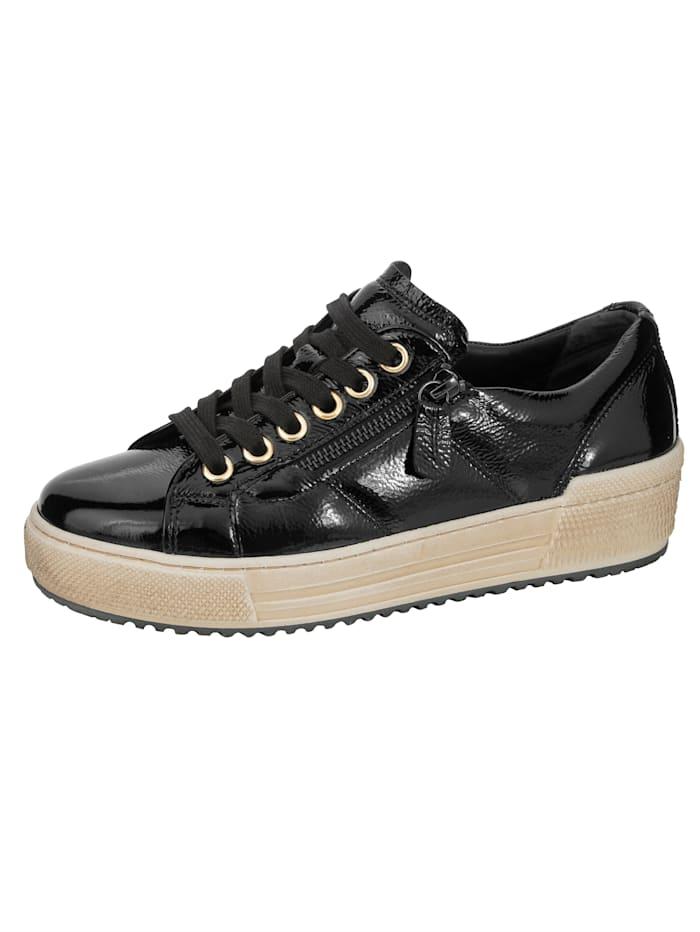 Gabor Sneakers à plateau avec glissière de chaque côté, Noir
