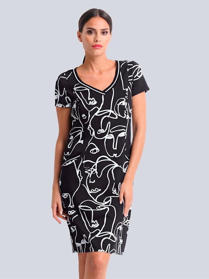 Alba Moda Jerseykleid aus hochwertiger Piquée-Qulität, Schwarz/Weiß