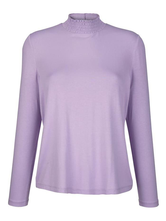 Shirt mit gesmoktem Stehkragen