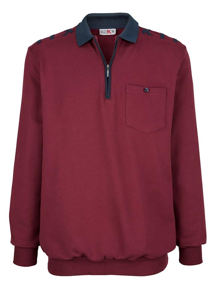 Roger Kent Sweatshirt mit Kontrastdetails, Bordeaux