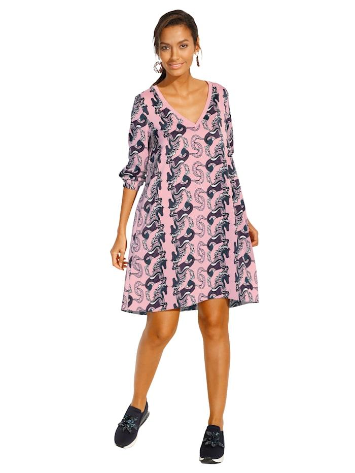 Lieblingsstück Kleid mit dekorativer Bordüre, Rosé/Marineblau