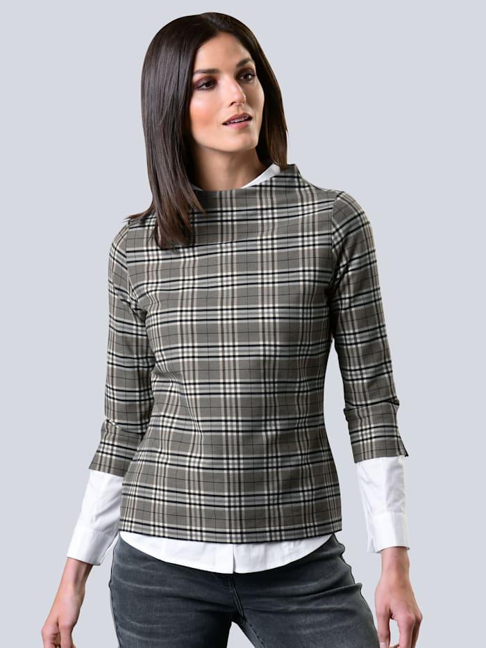 Alba Moda Shirt in schönem Karo-Dessin, Grau/Off-white/Taupe