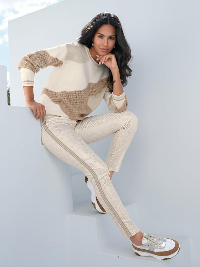 AMY VERMONT Pullover mit grafischem Muster, Off-white/Beige