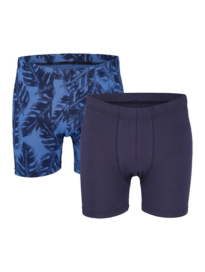 Boxershorts zonder gulp 2 stuks, 1x blauw/marine, 1x marine