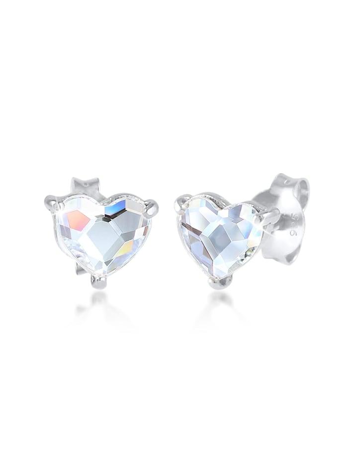 Elli Ohrringe Herz Stecker Kristalle 925 Silber, Silber