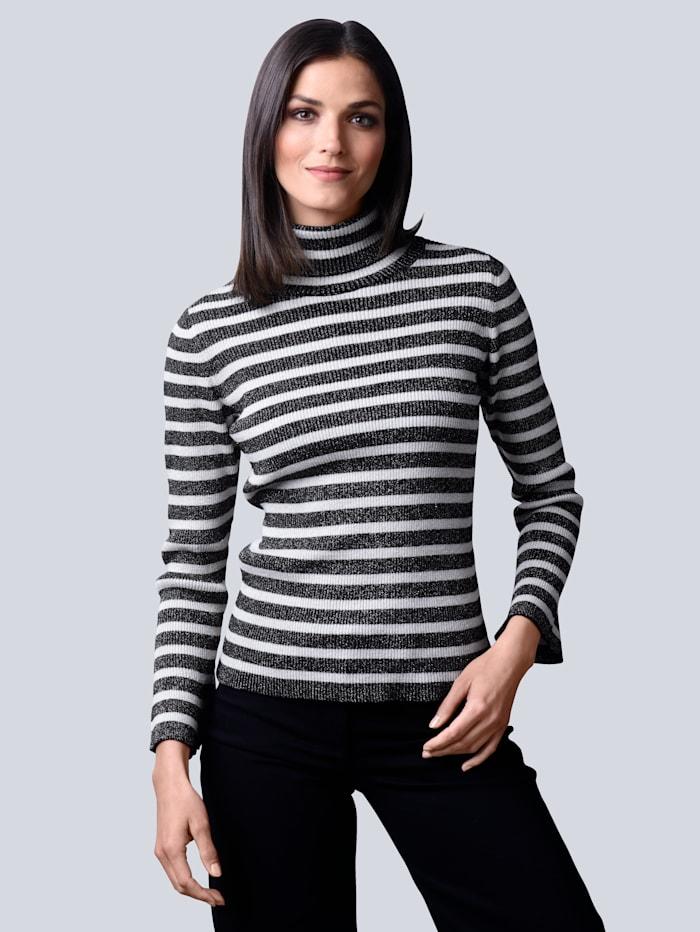 Alba Moda Pullover allover im klassischem Streifenmuster, Schwarz/Off-white/Silberfarben