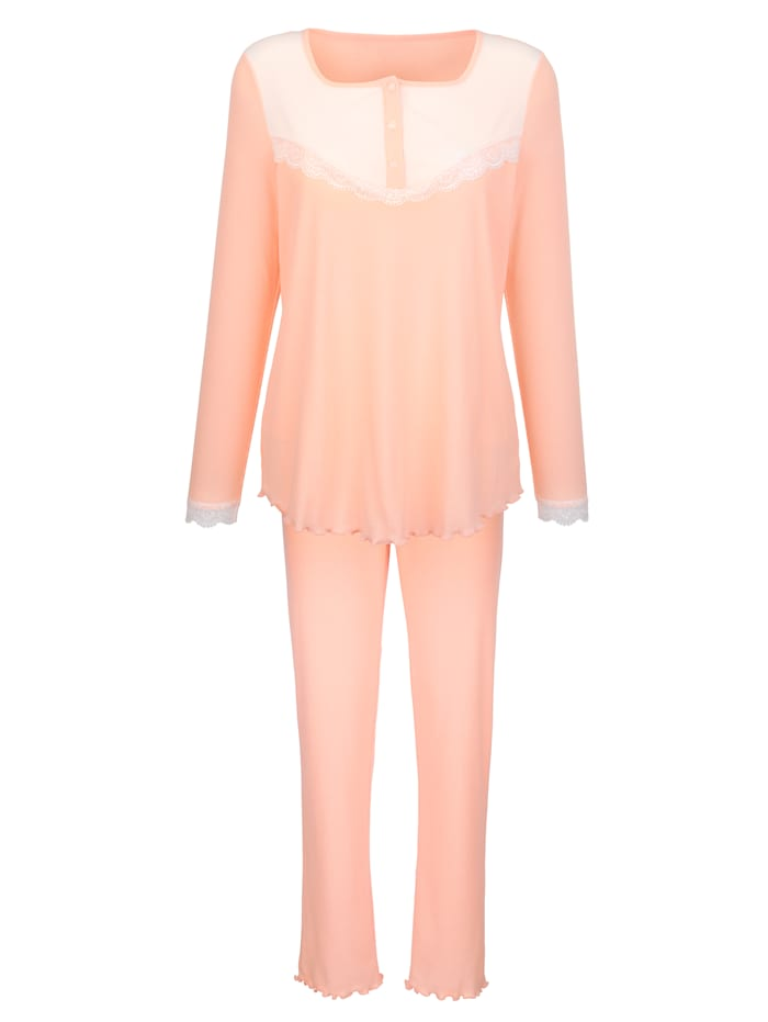 Simone Schlafanzug aus trageangenehmen Rippenjersey, Apricot/Ecru