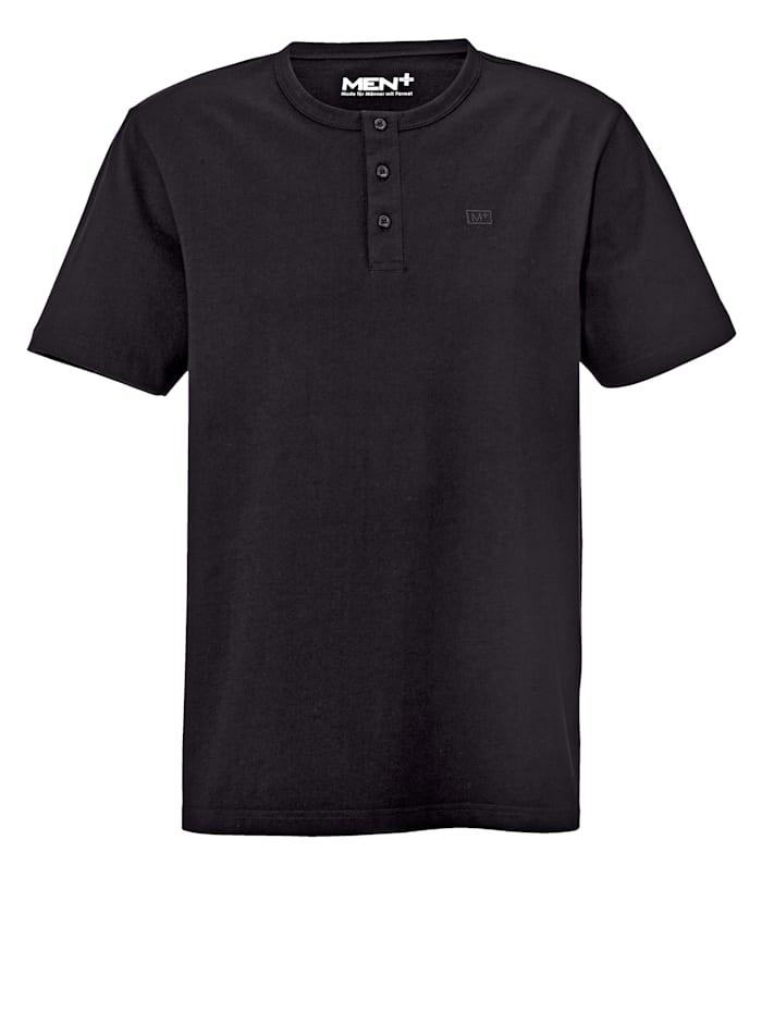 Men Plus T-shirt med knappar i halsen, Svart