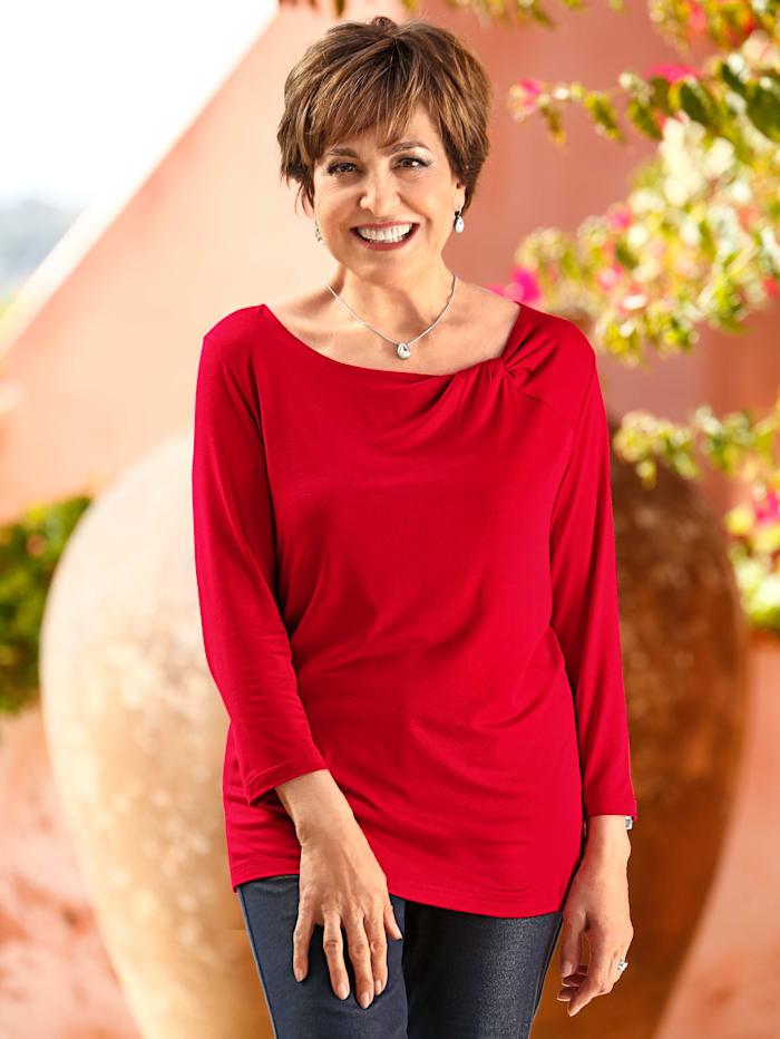 Paola Shirt mit drapiertem Knotendetail, Rot