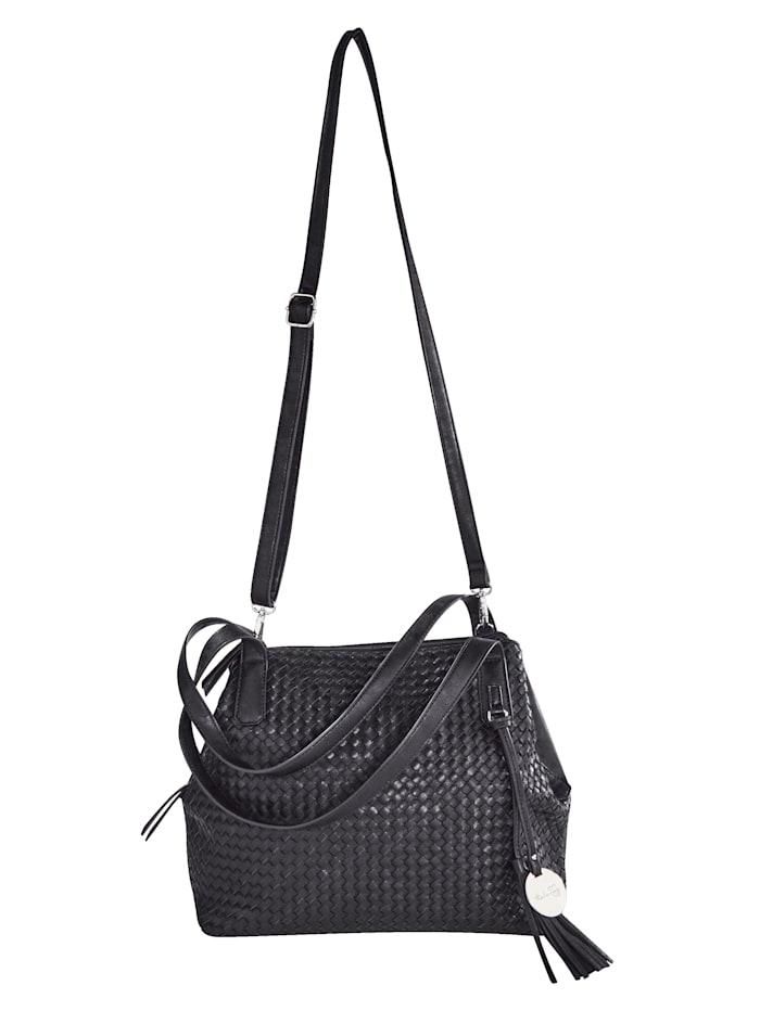 Taschenherz Shopper mit schöner Flechtoptik, schwarz