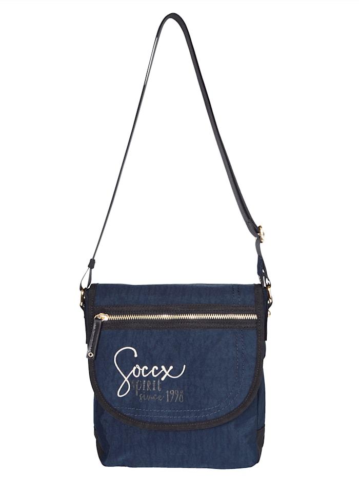 SOCCX Umhängetasche mit Überschlaglasche und Klettverschluss, dunkelblau