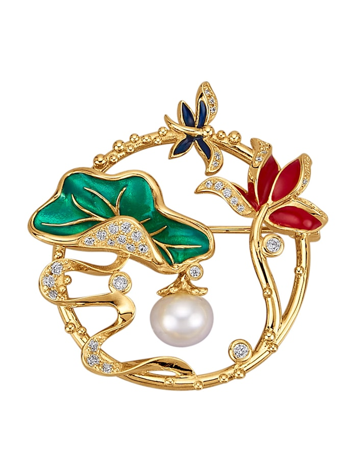 "Amara Perles Broche ""Fleurs"" avec perle de culture blanche, Multicolore"