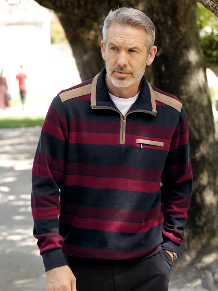 BABISTA Sweatshirt mit weichen Veloursbesätzen, Rot/Marineblau