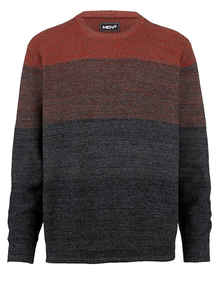 Men Plus Pullover aus reiner Baumwolle, Rost/Anthrazit