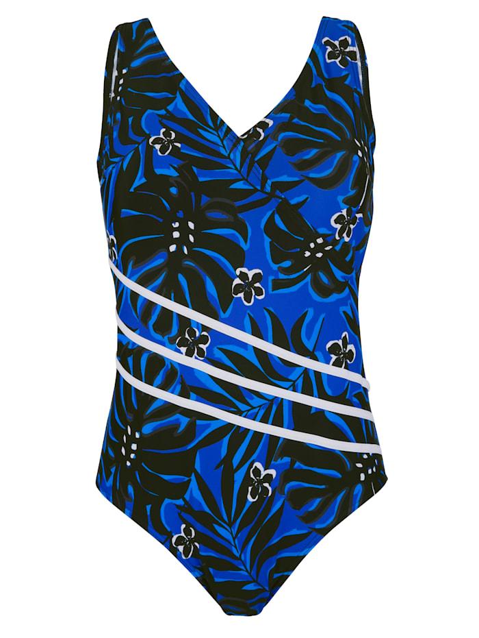Maritim Badpak in flatterende wikkellook, Royal blue/Zwart