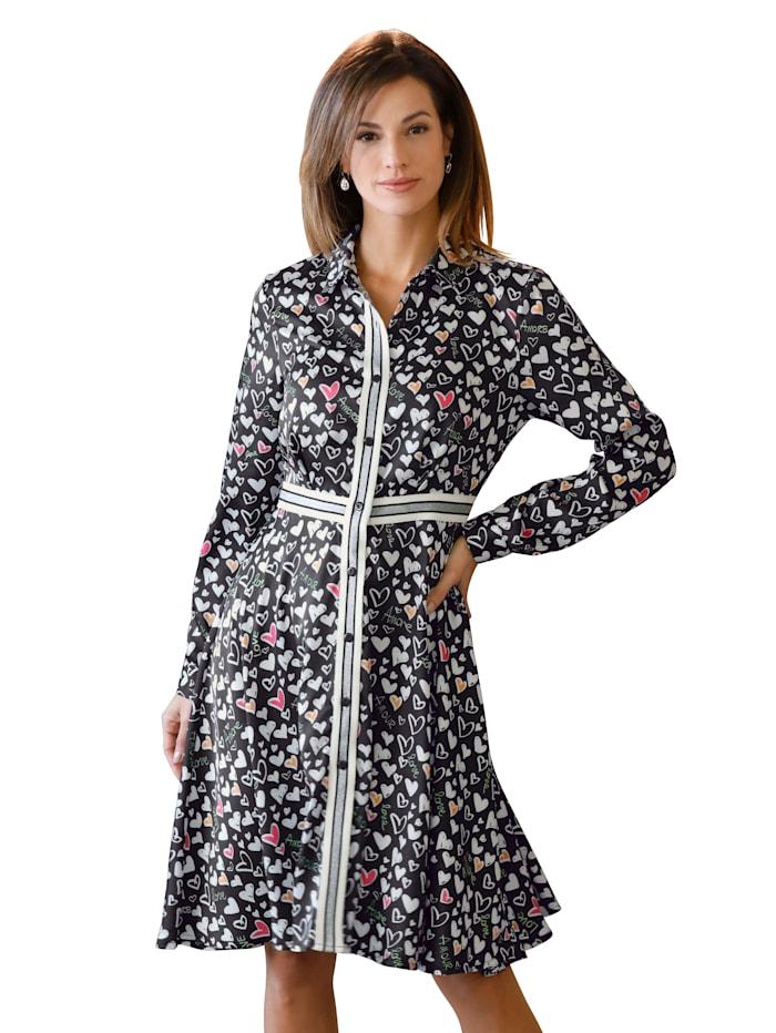 AMY VERMONT Robe-chemisier entièrement imprimée d'un ravissantmotifde coeurs, Noir/Blanc/Rose vif/Orange/Vert