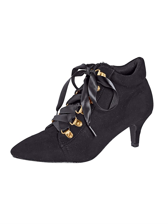 Liva Loop Ankle boot in puntig model, Zwart