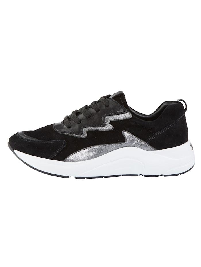 Sneakers i läcker skinnmix