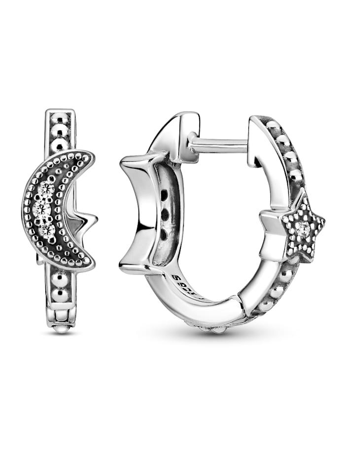 Pandora Ohrringe -Halbmond und Sterne- 299152C01, Silberfarben
