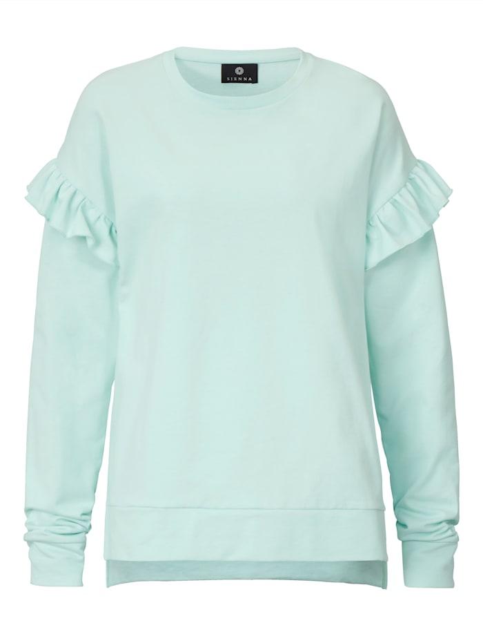 SIENNA Sweatshirt mit Rüschen am Ärmelansatz, Grün