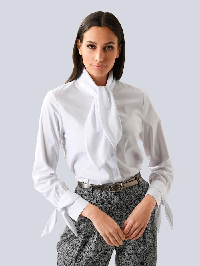 Alba Moda Bluse mit Schluppe und Bändern, weiss