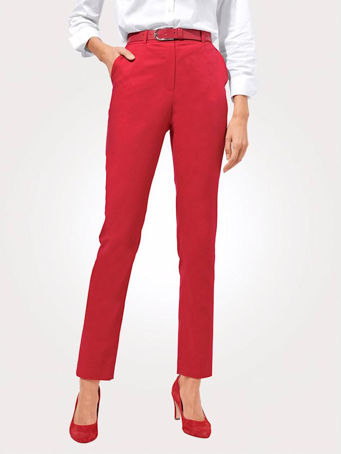 MONA Pantalon en coton mélangé estival, Rouge