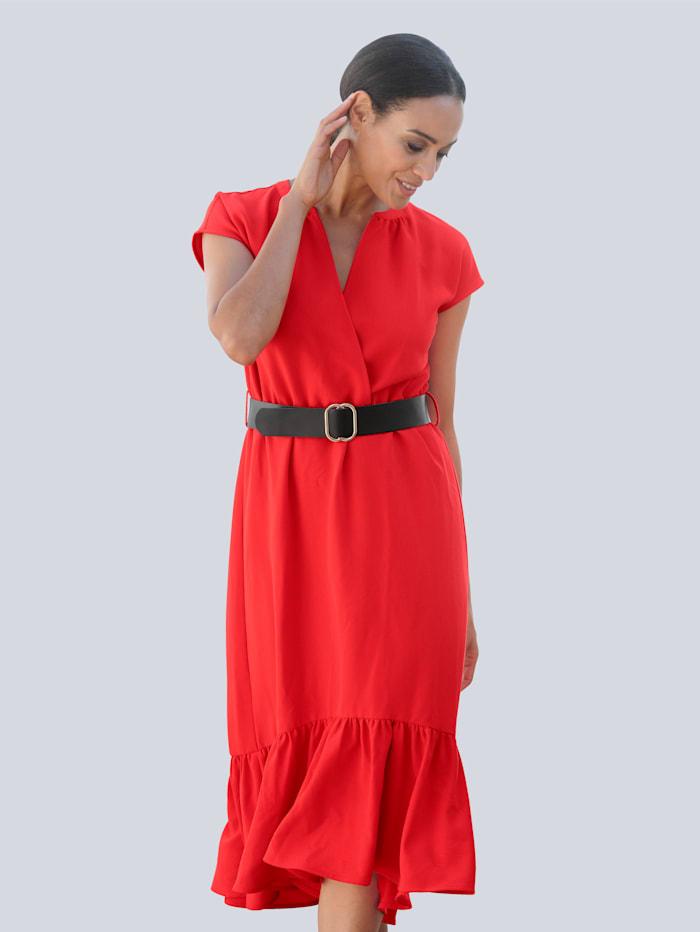Alba Moda Strandkleid mit schwarzem Gürtel, Rot