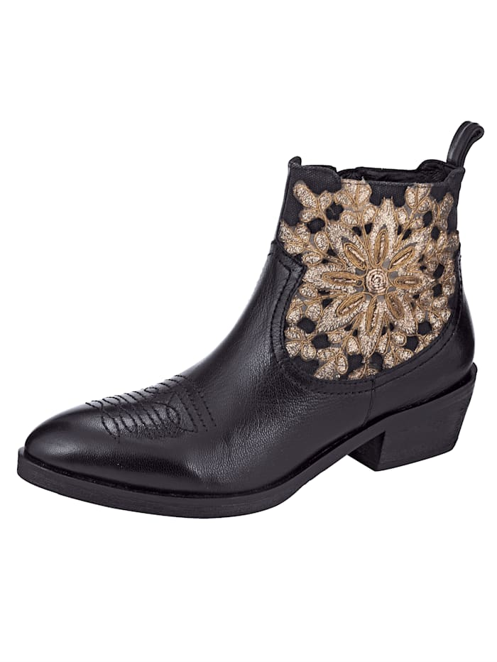 Liva Loop Chelsea Ankle boots with decorative embroidery, Black