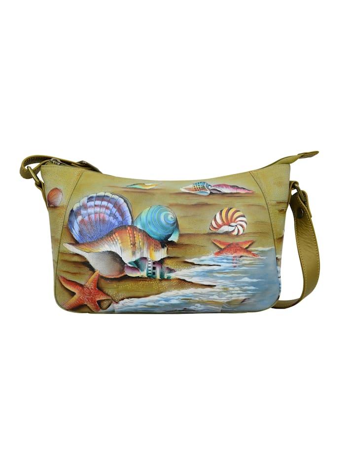 ANUSCHKA Schultertasche Gift of the Sea aus handbemaltem Leder, mehrfarbig