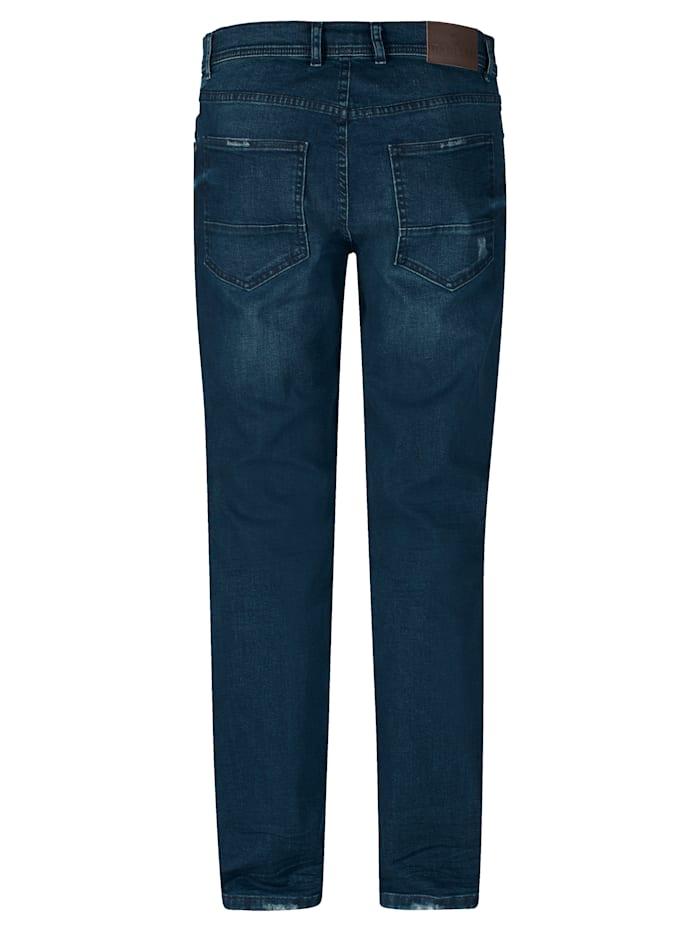 Jeans i klassisk modell med avsiktligt slitage