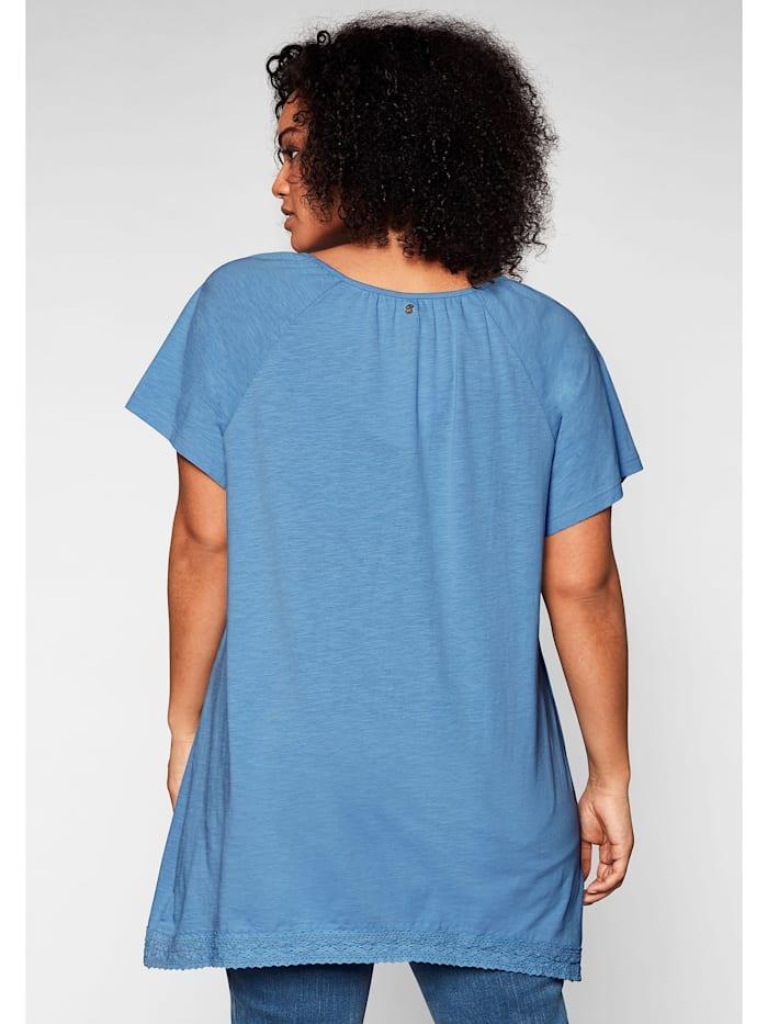 Shirt mit Spitze und Zipfelsaum