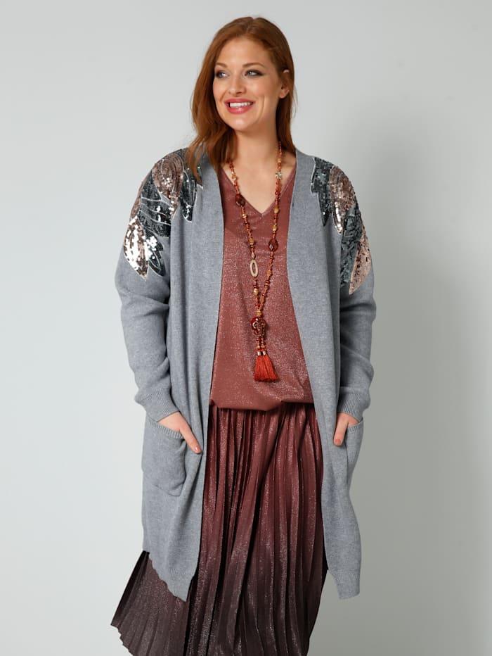 Sara Lindholm Strickjacke mit dekorativen Paillettendetails, Hellgrau