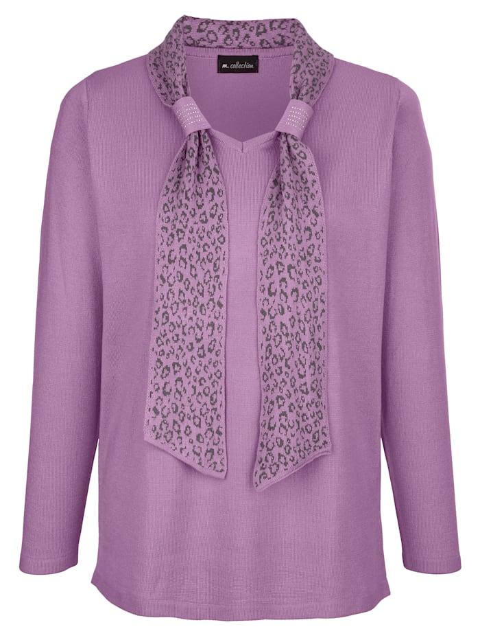Pullover mit angenähtem Schal am Ausschnitt