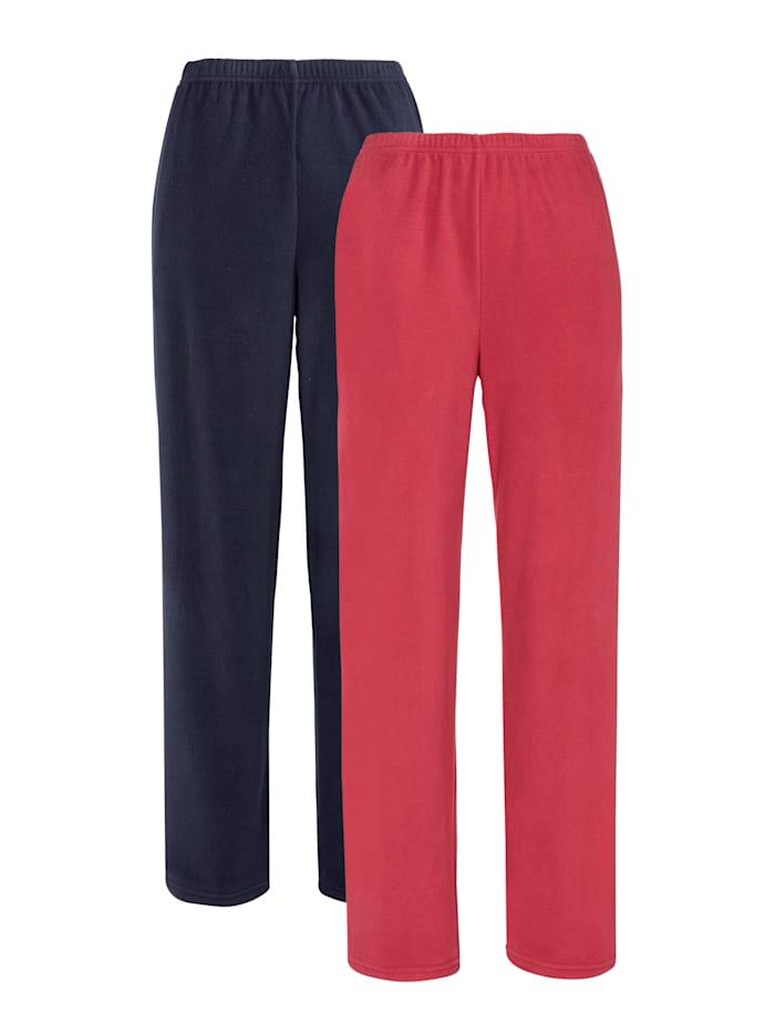 Harmony Fleece-Freizeithose, 2er Pack, Marineblau/Rot