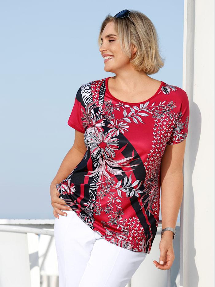 m. collection Shirt met print voor, Wit/Zwart/Rood